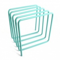 Desktop Light Blue Metal Magazine Rack by Block Design