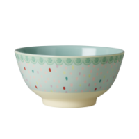 Colourful Raindot Melamine Bowl With Dusty Green Rice DK