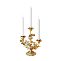 Rice DK 3 Arm Metal Candle Holder in Gold