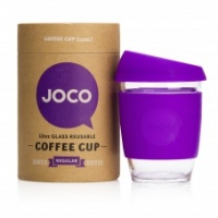 Joco reusable glass coffee cup with purple sleeve
