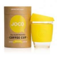 Joco reusable glass coffee cup lemon silicone sleeve