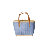 Childs Blue Fabric Covered Raffia Shopping Basket By Rice