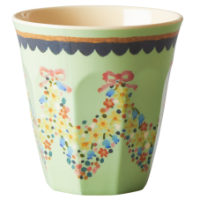 Mint Green Two Tone Flower Melamine Cup Rice DK