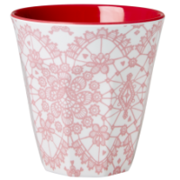 Rice DK Coral Pink Lace Print Melamine Cup
