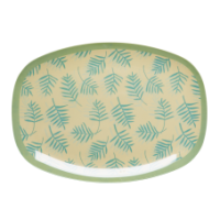 Rice DK Rectangular Palm Leaves Print Melamine Plate