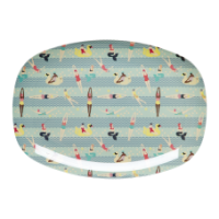 Rice DK Blue Swimster Print Rectangular Melamine Plate