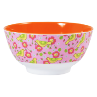 Yellow Bird Print Melamine Bowl Orange Interior Rice DK