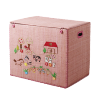 Rice Dk Foldable Pink Farm Design Raffia Toy Basket