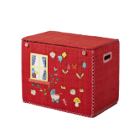Rice Dk Small Foldable Red House Raffia Toy Basket